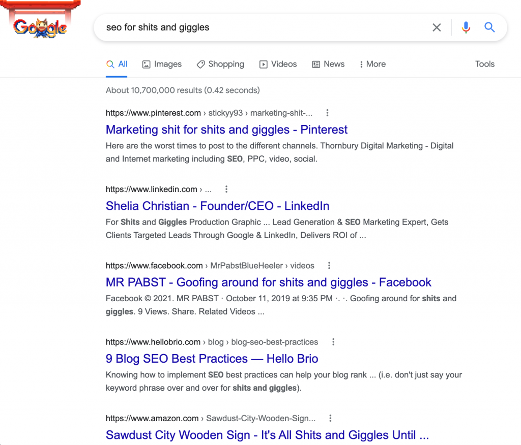 """Google search results page for """"SEO for Shits and Giggles"""""""